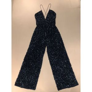 Embellished Navy Jumpsuit